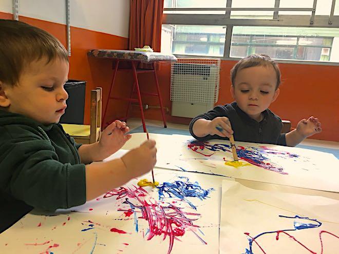 En la sala Ducklings los chicos utilizaron la gráfica libre como forma de expresión